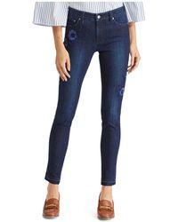 Ralph Lauren - Lauren Floral Embroidered Released Hem Skinny Jeans In Blue - Lyst