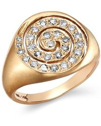 Shebee - 14k Yellow Gold Diamond Spiral Signet Ring - Lyst