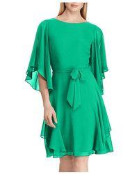 Ralph Lauren Lauren Ruffled Georgette Dress - Green