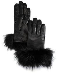 Echo Asiatic Raccoon Fur - Cuff Leather Tech Gloves - Black