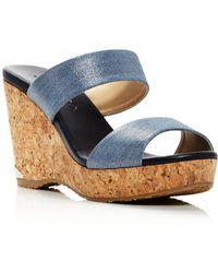 Jimmy Choo - Women's Parker 100 Denim Cork Wedge Slide Sandals - Lyst