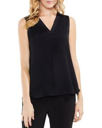 Vince Camuto Shirred High/low Tank - Black