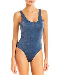 Aqua Swim Metallic One Piece Swimsuit - Blue