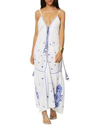Ramy Brook Taryn Cotton Embroidered Swim Cover Up Maxi Dress - White