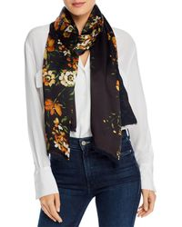Echo Painterly Floral Silk Scarf - Black