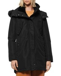 Marc New York Faux Fur Trim Anorak - Black