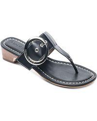 Bernardo - Women's Leather Buckled Block Heel Thong Sandals - Lyst