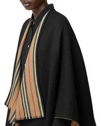 Burberry Wool Icon Stripe Cape - Black