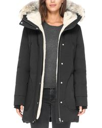 SOIA & KYO Saundra Fur Trim Hooded Down Coat - Black