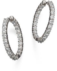 Roberto Coin - 18k White Gold Diamond Inside - Out Hoop Earrings - Lyst