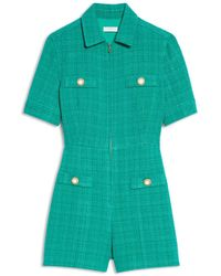 Sandro Jacky Zipped Tweed Playsuit - Green