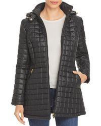 Via Spiga Hooded Quilted Coat - Black