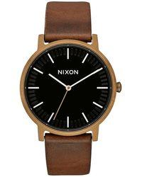 Nixon The Porter Leather brown - Schwarz