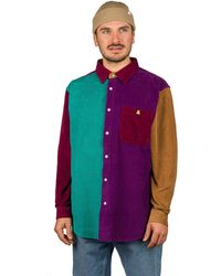 Teddy Fresh Corduroy Color Block Button Up Shirt estampado - Multicolor