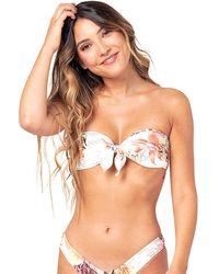 Rip Curl - Tallows Bandeau Bikini Top blanco - Lyst