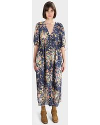 Zimmermann Zinnia Shirred Waist Dress - Blue