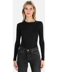 RE/DONE Long Sleeve Bodysuit Top - Black