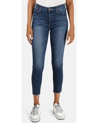 Mother The Stunner Ankle Fray Jeans - Blue