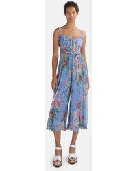 Zimmermann Bellitude Floral-print Silk-chiffon Midi Jumpsuit - Blue