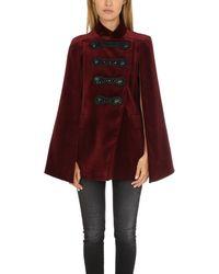 Balmain Embellished Velvet Cape Jacket - Red