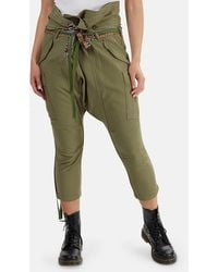 R13 Rolled Waist Cargo Trousers - Green