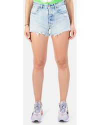 Blue & Cream Moussy Etna Shorts - Blue