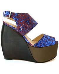 Loeffler Randall Estrella Satin Wedge Shoes - Blue