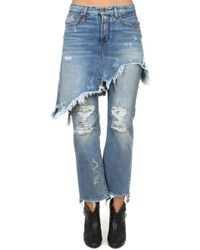R13 - Double Classic Shredded Jean - Lyst