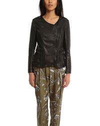 3.1 Phillip Lim Studded Ruffle Leather Jacket - Black