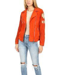 Giorgio Brato Suede Moto Jacket With Patches - Orange