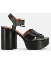 Clergerie Vianne Leather Platform Sandals Shoes - Black