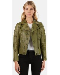 Lucien Pellat Finet Perforated Skull Leather Jacket - Green