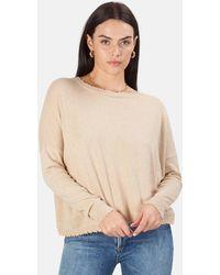 Minnie Rose Cotton/cashmere Crop Jumper - Natural