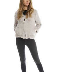 H Brand Chloe Rabbit Fur Hooded Jacket - Gray