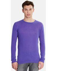 Blue & Cream Lightweight Cashmere Jumper - Purple