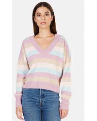 NAADAM Striped Cashmere V Neck Sweater - Purple