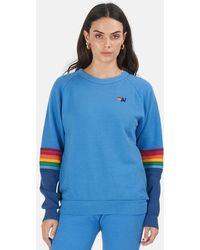 Aviator Nation Rainbow Stitch Colorblock Sweatshirt Sweater - Blue