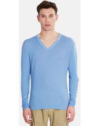 V :: Room Long Sleeve Vneck Gauze T-shirt - Blue