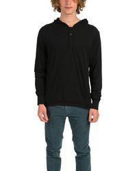 Blue & Cream Henley Hoody Sweater - Black