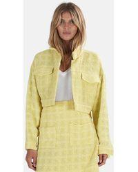 Blue & Cream Cropped Tweed Jacket - Yellow