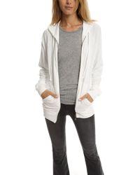V :: Room - Stretch Modal Light Sponge Long Sleeve Zip Hoody White - Lyst
