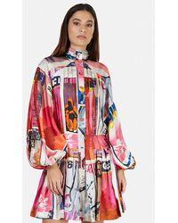 Zimmermann Wavelength Graphic-print Silk Mini Dress - Pink