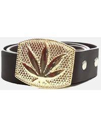 Lucien Pellat Finet Gold Leaf Buckle Belt - Black