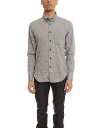 Naked & Famous Crinkle Horizontal Stripes Slim Shirt - Grey