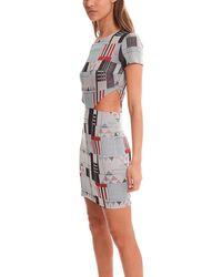 SUNO Glitter Cutout Midi Dress - Gray