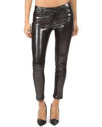 RTA Prince Metallic Leather Trousers - Black
