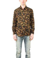 Blue & Cream - Camouflage Button Down Shirt - Lyst