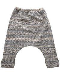 Blue & Cream Harem Fancy Trousers - Gray