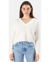 NAADAM Cable Knit V-neck Sweater - White