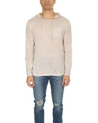 Blue & Cream Pullover Hoodie Sweater - Natural
